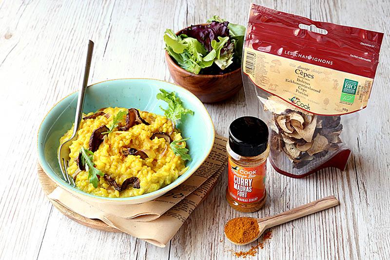 Risotto coco au curry et aux cèpes