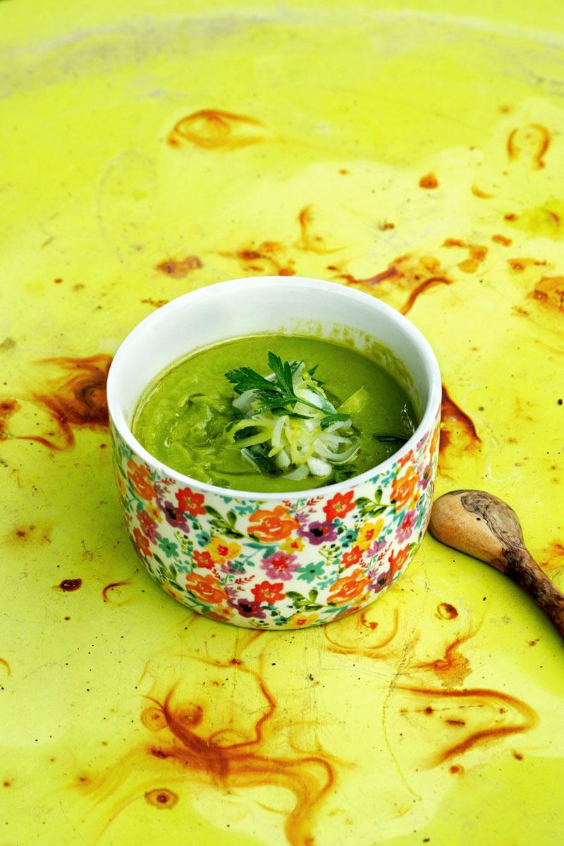 soupe-poreaux-petits-pois bouquet garni
