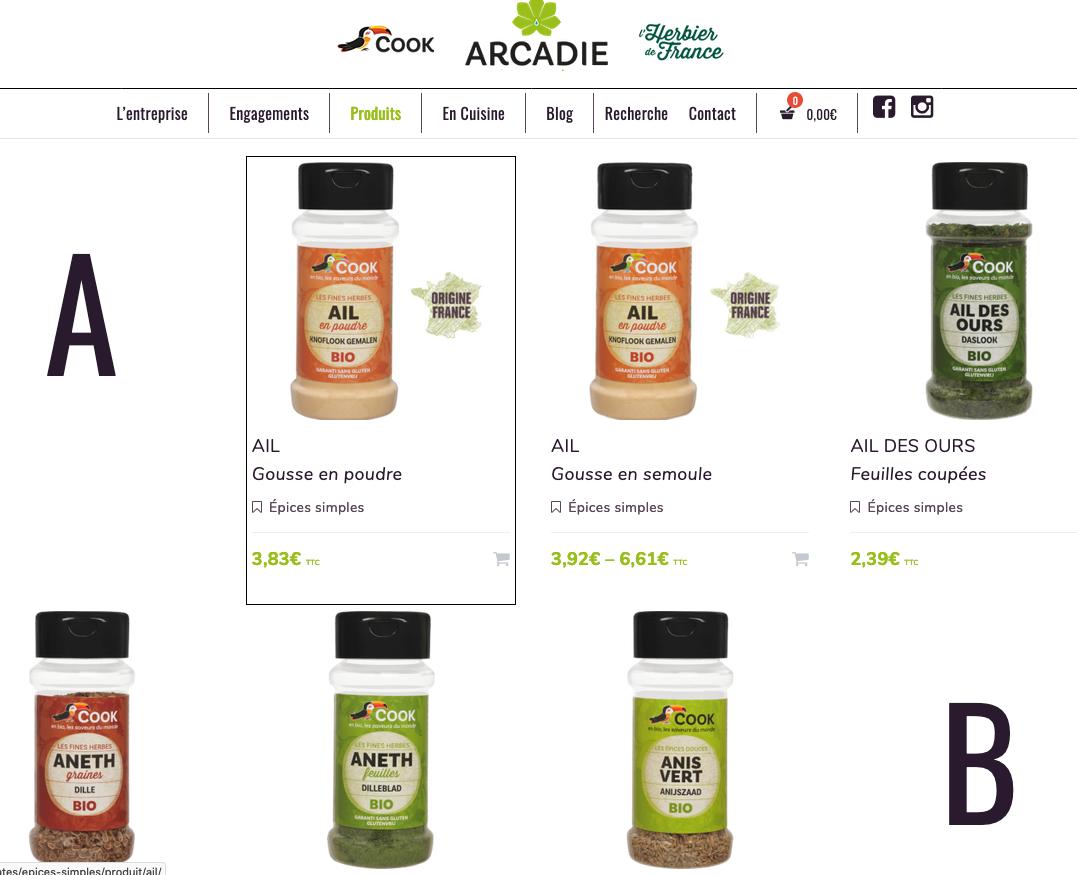 Boutique En Ligne Site Arcadie Cook L'Herbier De France