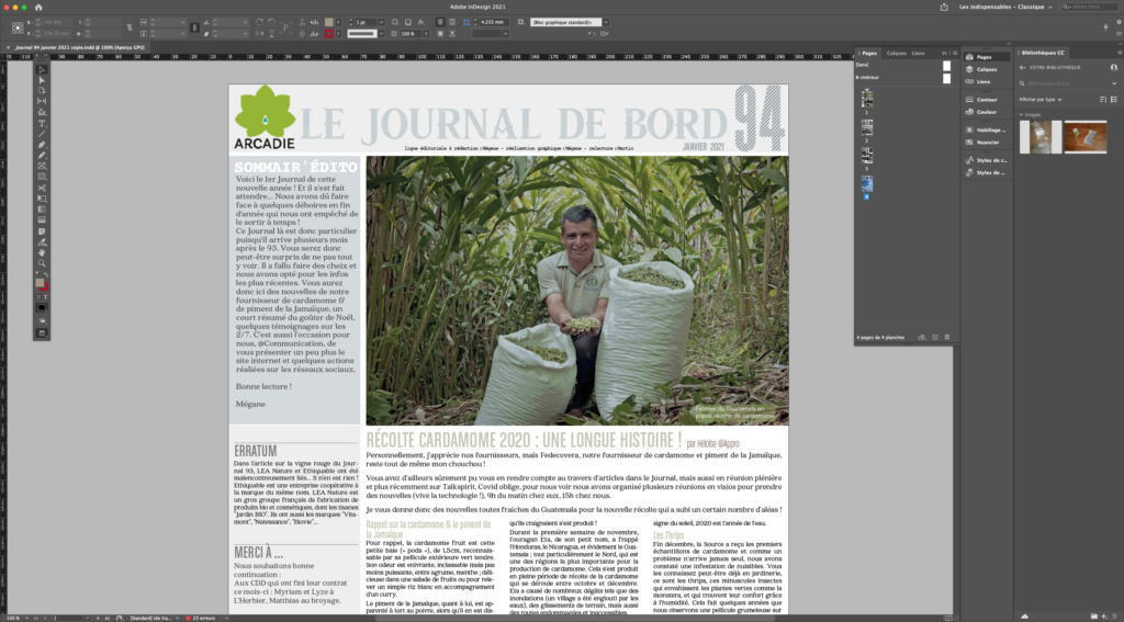 Mise en page du Journal
