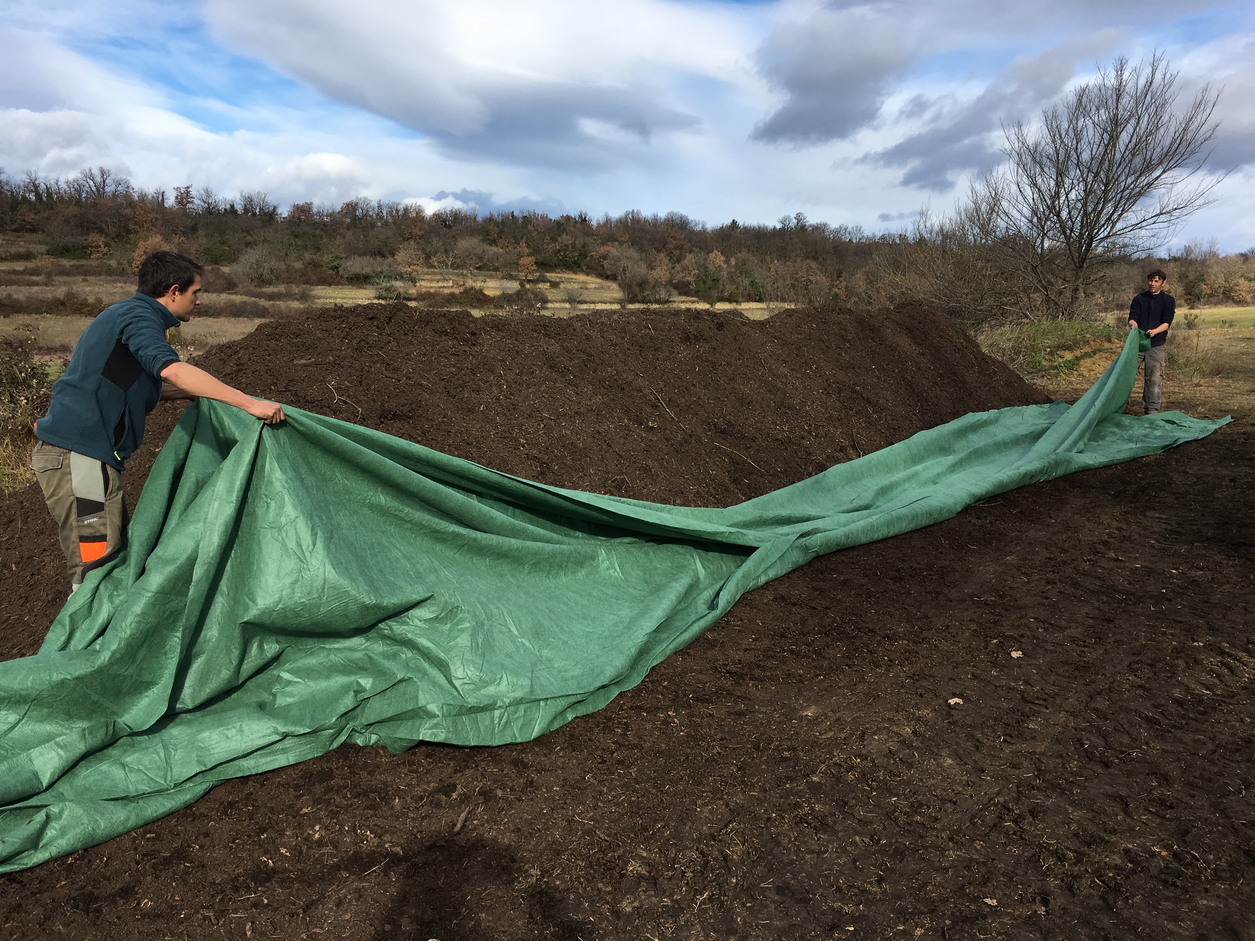 essai de compost à la Ferme d'Arcadie