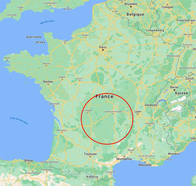 Carte Périmètre Filiere Massif Central France